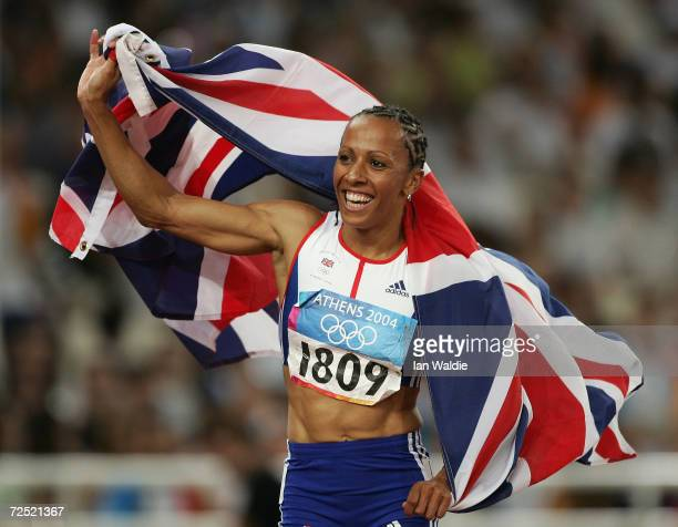 Kelly Holmes of Great Britain celebrates after she won gold in the women's 1500 metre final on August 28 2004 during the Athens 2004 Summer Olympic...