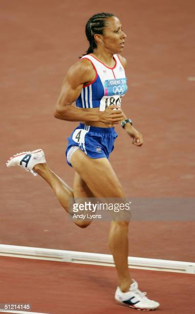 Kelly Holmes of Great Britain competes in the women's 1500 metre event on August 24 2004 during the Athens 2004 Summer Olympic Games at the Olympic...