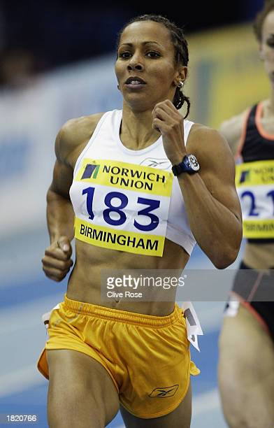 Kelly Holmes of Great Britain in action in the 1500 metres during the Norwich Union Grand Prix held on February 21 2003 at the National Indoor Arena...