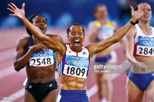 Kelly Holmes of Great Britain reacts as she realises she has won the Olympic women's 800 metres final at the Olympic Stadium on August 23rd 2004 in...
