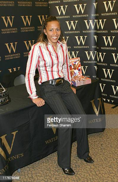 """Kelly Holmes with her book """"My Olympic Ten Days"""" during Kelly Holmes Signs Her Book """"My Olympic Ten Days"""" at Waterstones in London at Waterstones in..."""