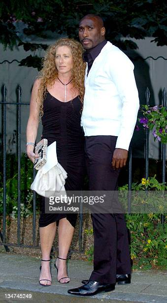 Kelly Hoppen and Sol Campbell during Sir David Frost Summer Party Arrivals at Carlisle Square in London Great Britain