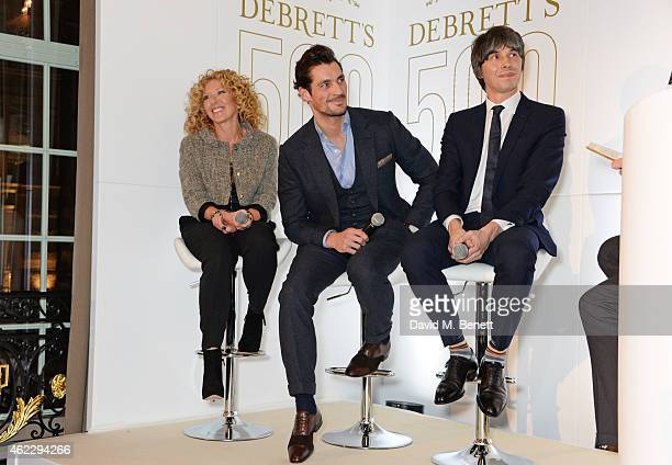 Kelly Hoppen David Gandy and Brian Cox speak onstage at Debrett's 500 party hosted at The Club at Cafe Royal on January 26 2015 in London England The...