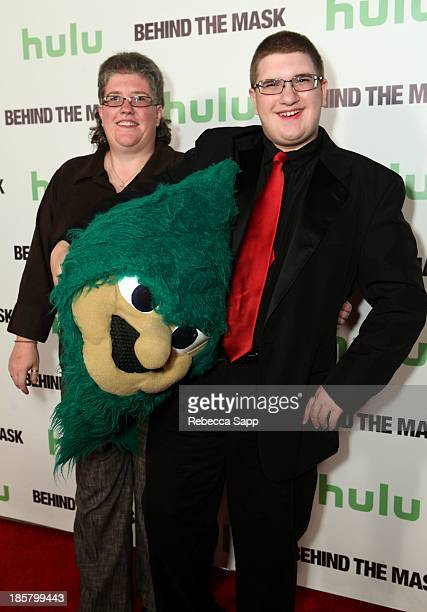 Kelly Hostetter and Lebanon High School's Rooty the Cedar Tree mascot Michael Hostetter at Hulu Presents The LA Premiere Of 'Behind the Mask' at the...