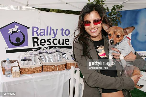 Kelly Hu and dog Mushu during Silver Spoon Hollywood Buffet for Dogs and Babies - Day 2 at The Regent Beverly Wilshire H in Los Angeles, California,...