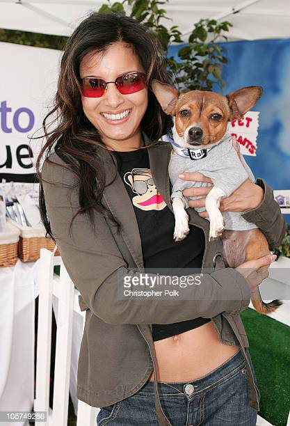 Kelly Hu and dog Mushu during Silver Spoon Hollywood Buffet for Dogs and Babies Day 2 at The Regent Beverly Wilshire H in Los Angeles California...