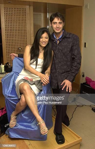 Kelly Hu and hairstylist Kyle Plishtiyev at the Chanel-Frederic Fekkai suite