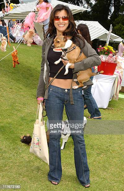 Kelly Hu and her dog Moo Shoo during Silver Spoon Hollywood Buffet for Dogs and Babies - Day 2 in Los Angeles, California, United States.