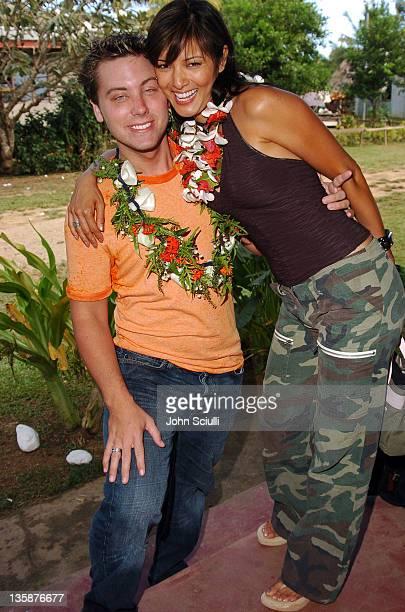 Kelly Hu and Lance Bass during Kelly Slater Invitational Fiji Day 2 Mome Village Tour in Mome Village Tavarua Island Fiji