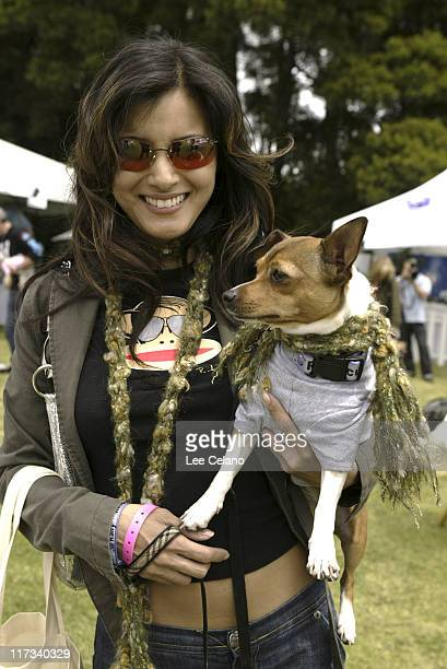 Kelly Hu and Moo Shoo at Pet Scarves during Silver Spoon Hollywood Buffet for Dogs and Babies - Day 2 in Los Angeles, California, United States.