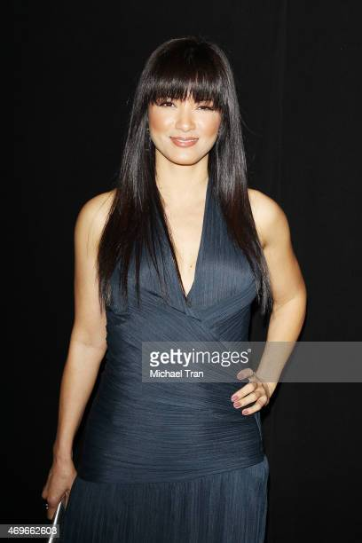 Kelly Hu arrives at The Annual MakeUp Artists and Hair Stylists Guild Awards held at Paramount Theater on the Paramount Studios lot on February 15...