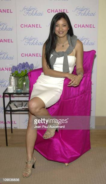 Kelly Hu at the ChanelFrederic Fekkai suite during Celebrities Visit The CHANEL Frederic Fekkai Suite at L'Ermitage Hotel For The Best Of Oscar...