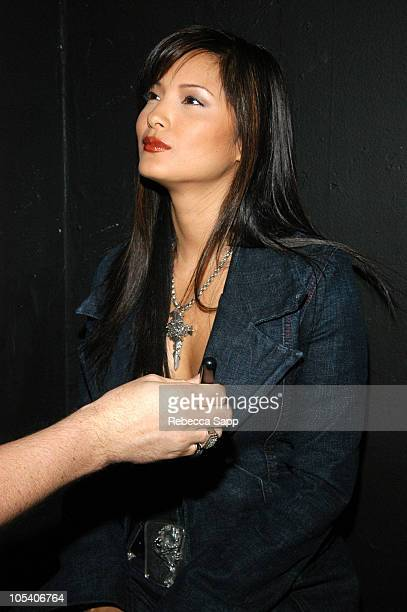 Kelly Hu at the Estee Lauder makeup counter during 2004 Movieline Young Hollywood Awards Sponsors at Avalon Hollywood in Hollywood California United...