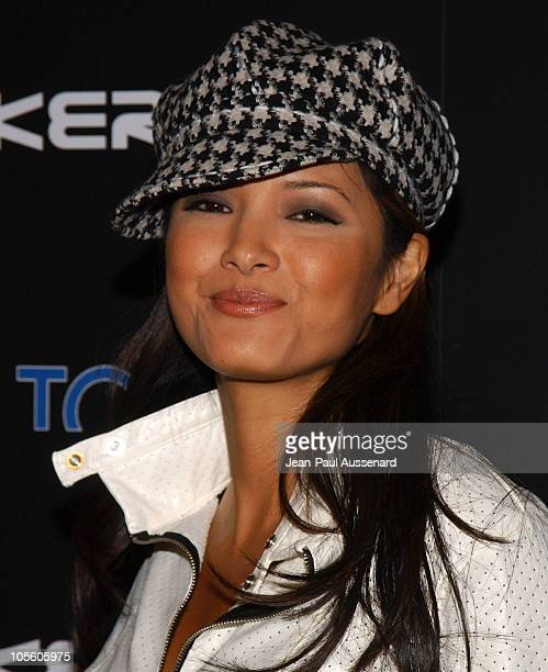 Kelly Hu during BosPokercom 2004 Celebrity Poker Tournament Arrivals at Private residence in Beverly Hills California United States