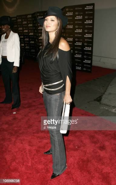 Kelly Hu during Cadillac Presents Rock and Republic Spring 2005 Collection Red Carpet at Culver Studios in Culver City California United States