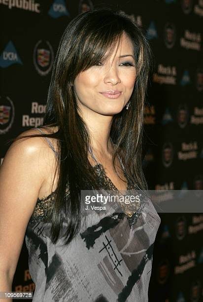 Kelly Hu during Cadillac Presents Rock & Republic Fall 05 Fashion Show - Arrivals at Sony Studios in Culver City, California, United States.