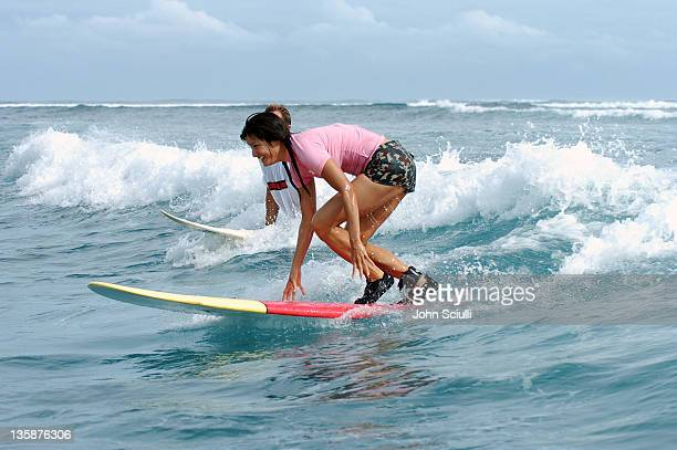Kelly Hu during Kelly Slater Invitational Fiji Day 3 Celebrity Surf at Restaurants in Tavarua Island Fiji
