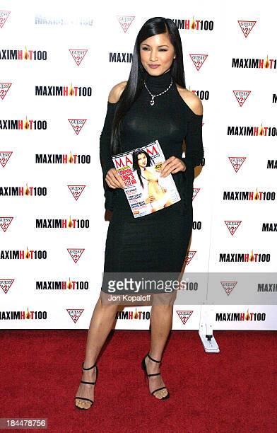 Kelly Hu during Maxim Hot 100 Party Arrivals at Yamashiro in Hollywood California United States