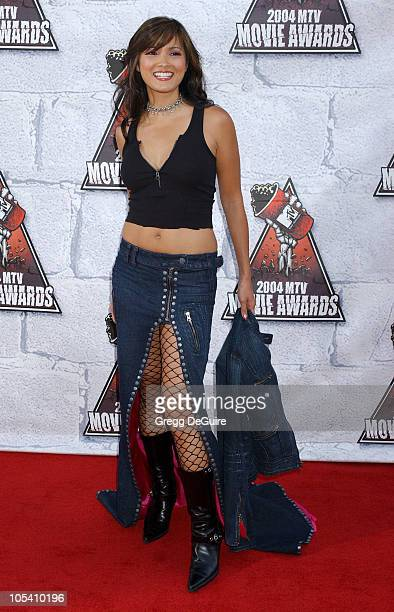 Kelly Hu during MTV Movie Awards 2004 Arrivals at Sony Pictures Studios in Culver City California United States