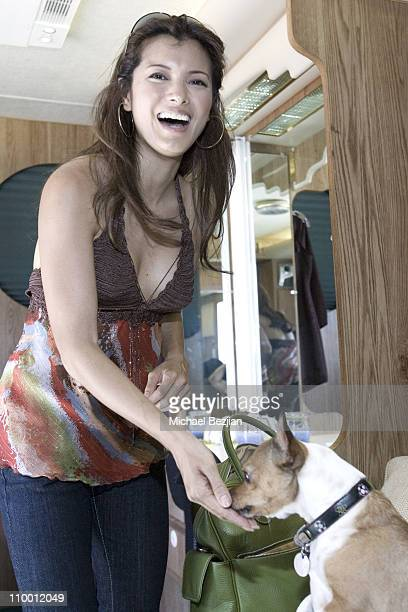 Kelly Hu during On the Set of Farm House at Hollywood Set in Los Angeles California United States