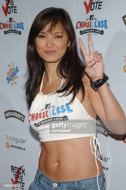 Kelly Hu during Rock The Vote 2004 National Bus Tour Arrivals at Avalon Hollywood in Hollywood California United States