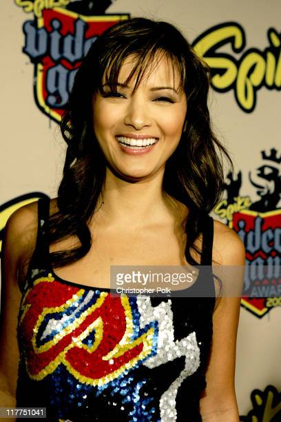Kelly Hu during Spike TV's 2nd Annual Video Game Awards 2004 Red Carpet at Barker Hangar in Santa Monica California United States