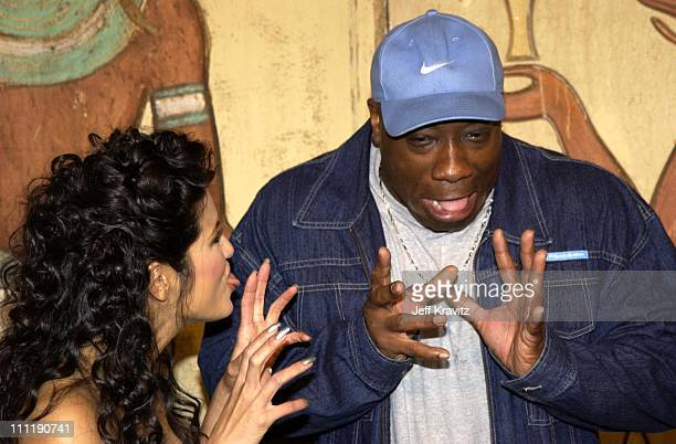 Kelly Hu Michael Clarke Duncan during 'Scorpion King' DVD Release Event at Virgin Megastore in Los Angeles California United States