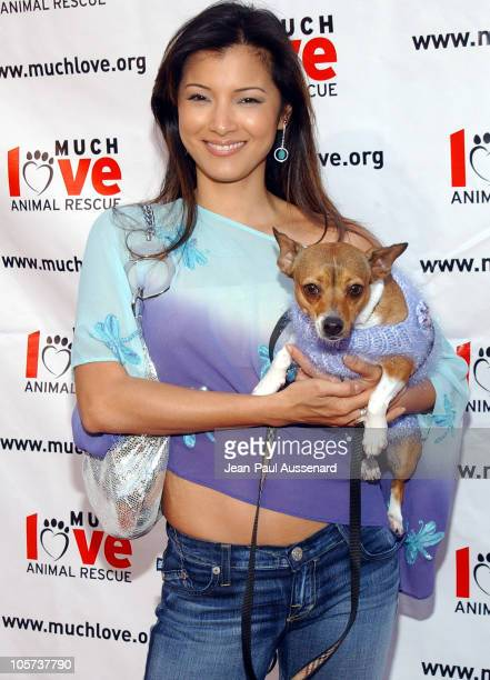 Kelly Hu with her dog Moo Shoo during Much Love Animal Rescue Shop 'Til You Drool Benefit at 5th and Sunset Studios Los Angeles in Los Angeles...