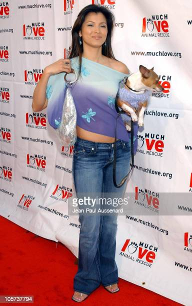 """Kelly Hu with her dog Moo Shoo during Much Love Animal Rescue """"Shop 'Til You Drool"""" Benefit at 5th and Sunset Studios Los Angeles in Los Angeles,..."""