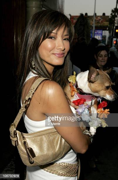 Kelly Hu with Mushu during 4th Annual Much Love Animal Rescue Celebrity Comedy Benefit - Red Carpet at The Laugh Factory in Hollywood, California,...