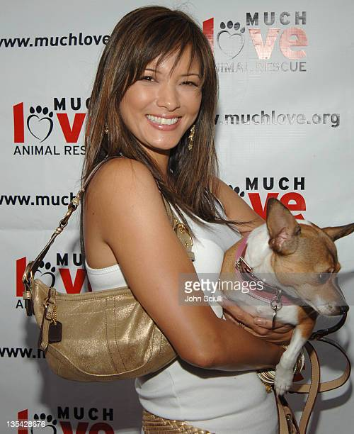 Kelly Hu with Mushu during 4th Annual Much Love Animal Rescue Celebrity Comedy Benefit - Red Carpet at The Laugh Factory in Los Angeles, California,...