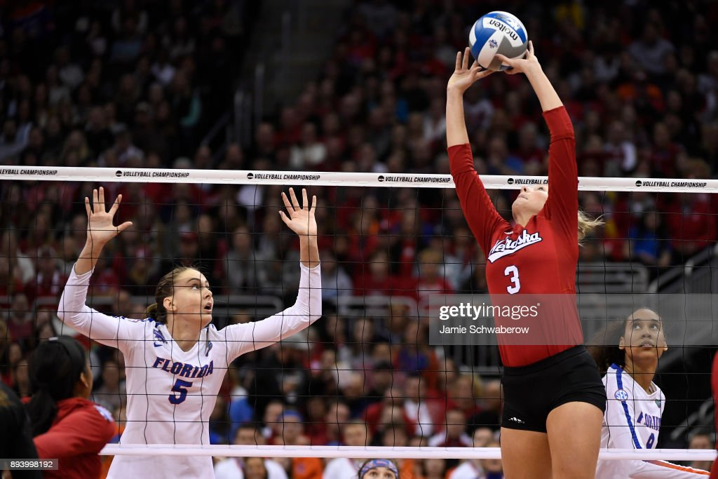 Kelly Hunter (3) of the University of Nebraska sets the ball during the Division I Women's Volleyball Championship held at Sprint Center on December 16, 2017 in Kansas City, Missouri.