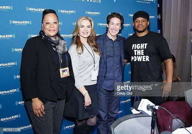 Kelly Jackson Victoria Osteen preacher Joel Osteen and radio host Sway Calloway attend SiriusXM at Super Bowl XLIX Radio Row at the Phoenix...