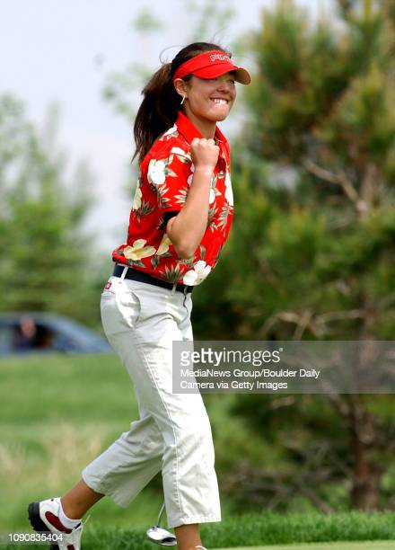 Kelly Jacques of Skyline High School pumps her fist after winning the Colorado State 5A golf tournament on Tuesday Jacques came from six strokes...