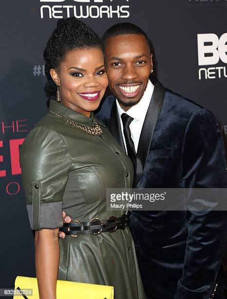 Kelly Jenrette and Melvin Jackson Jr arrive at BET's The New Edition Story premiere screening on January 23 2017 in Los Angeles California