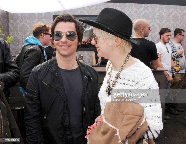 Kelly Jones and Jakki Healy attend the Ray-Ban Rooms during day three of the Isle of Wight Festival at Seaclose Park on June 24, 2012 in Newport,...