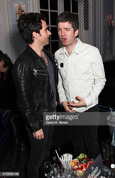 Kelly Jones and Noel Gallagher are seen at Warner Belvedere Post BRIT Awards party at The Savoy Hotel on February 19 2014 in London England
