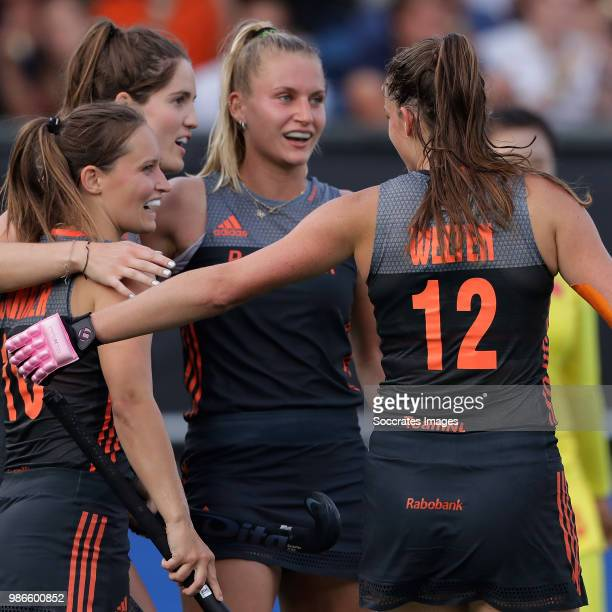 Kelly Jonker of Holland Women Laurien Leurink of Holland Women Lidewij Welten of Holland Women during the Rabobank 4Nations trophy match between...