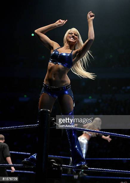 Kelly Kelly appeals to her fans during the WWE Smackdown at Acer Arena June 15 2008 in Sydney Australia