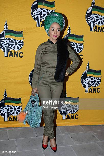 Kelly Khumalo attends the African National Congress Siyanqoba countdown to victory rally at the Market Theatre on July 13 2016 in Johannesburg South...