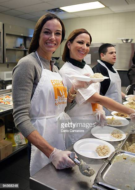 Kelly Killoren Bensimon and Jill Zarin of The Real Housewives of NYC serve dinner at the Food Bank for New York City's Community Kitchen of West...