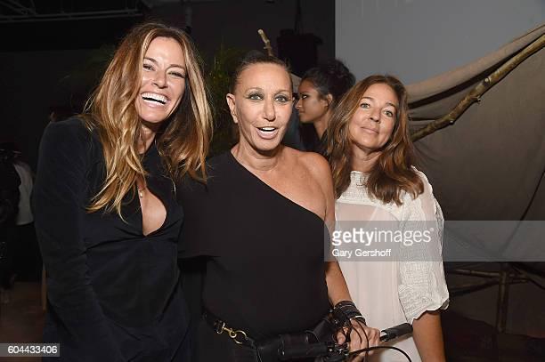 Kelly Killoren Bensimon designer Donna Karan and Kelly Klein attend the Urban Zen presentation during New York Fashion Week September 2016 at Urban...