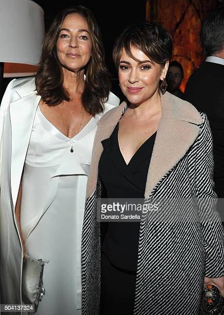 Kelly Klein and Alyssa Milano attend Photographs by Kelly Klein Hosted by Barry Diller and Jason Weinberg at BOA Steakhouse on January 8 2016 in West...