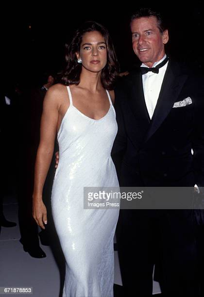 Kelly Klein and Calvin Klein attend Truman Capote's Black White Ball Recreation hosted by Princess Yasmin Aga Khan at Tavern on the Green circa 1991...