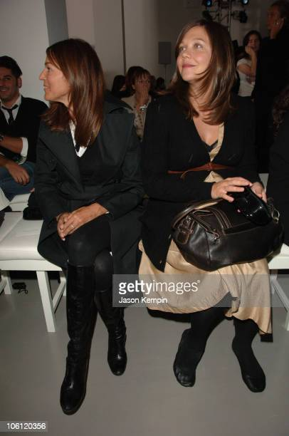 Kelly Klein and Maggie Gyllenhaal during Olympus Fashion Week Spring 2007 Calvin Klein Front Row and Backstage at 205 W 39th Street in New York City...