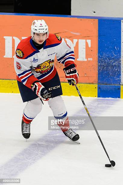 Kelly Klima of the Moncton Wildcats skates with the puck during the warmup prior to the QMJHL game against the Blainville-Boisbriand Armada at the...