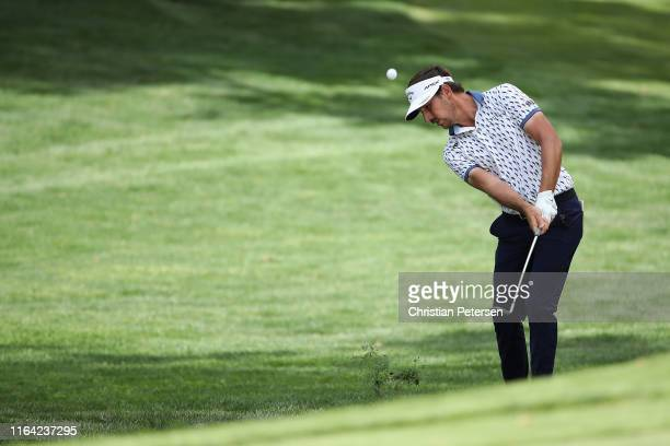 Kelly Kraft chips onto the 13th green during round one of the Barracuda Championship at Montreux Country Club on July 25 2019 in Reno Nevada