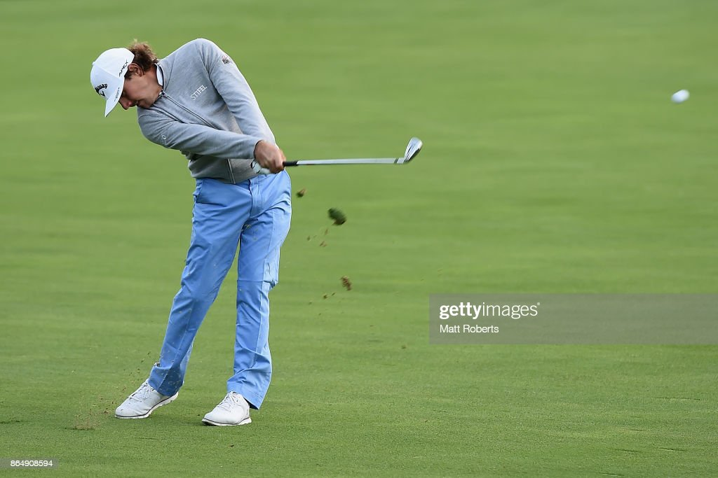 Kelly Kraft of the United States plays his second shot on the 10th hole during the final round of the CJ Cup at Nine Bridges on October 22, 2017 in Jeju, South Korea.