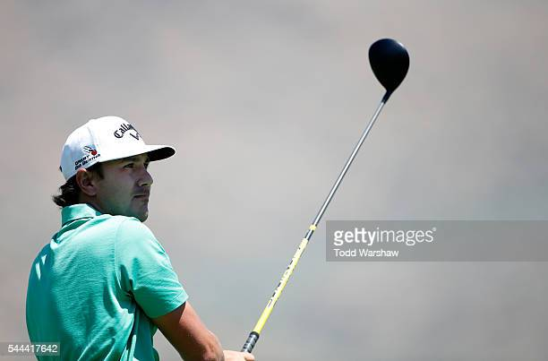 Kelly Kraft plays his shot from the second tee during the final round of the Barracuda Championship at the Montreux Golf and Country Club on July 3...