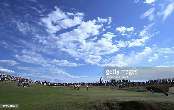 Kelly Kraft putts on the 11th hole during the US Amateur Championship final round at Erin Hills Golf Course on August 28 2011 in Erin Wisconsin